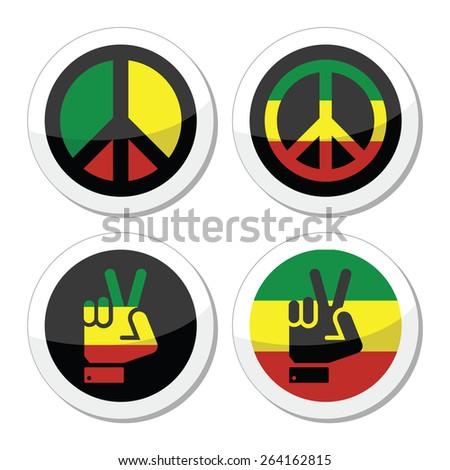 Rasta peace, hand gesture vector icons set - stock vector