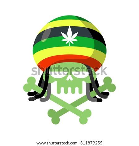 Rasta skull with dreadlocks and Rasta Cap. Green head skeleton with bones. Logo for Halloween. Emblem for drugs flag - stock vector