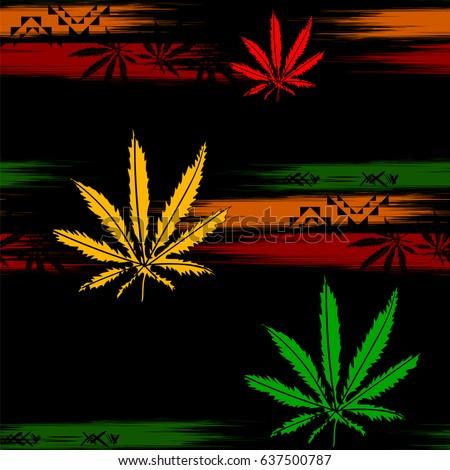 Rasta Wallpaper Abstract Seamless Pattern From Marijuana Cannabis On Rastafarian Background Colors Vector Illustration