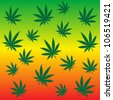 Rastafarian background with marijuana leaves - stock vector