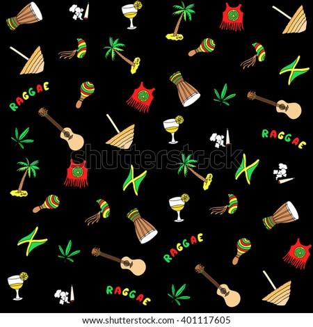 Rastafarian pattern. Vector cartoon Jamaica elements background - stock vector