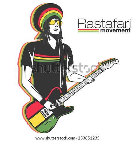 Rastaman in dreadlocks playing reggae with electric guitar. Isolated vector silhouette for poster and placard backgrounds. Rastafari movement music style. - stock vector