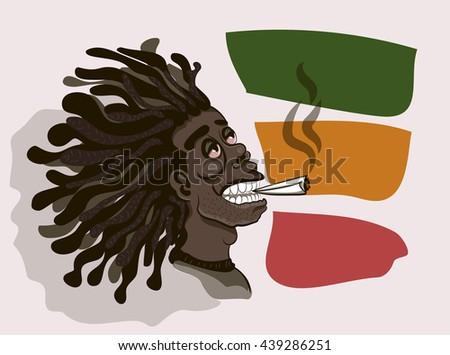 Rastaman smokes - stock vector