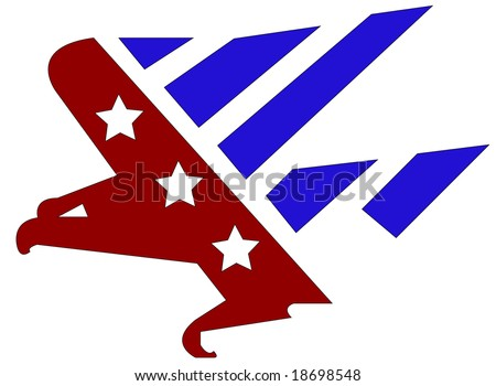 Raster graphic depicting an American flag in the shape of an eagle - stock vector