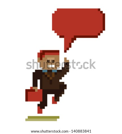 Raster pixel art style illustration - stock vector