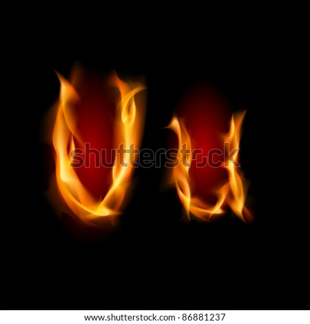 Raster version. Fiery font. Letter U. Illustration on black background - stock vector