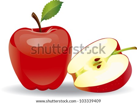 Raster version of vector red apple on a white background - stock vector