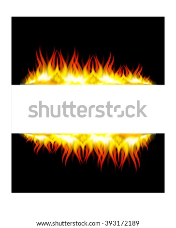 Raster version. Walls of fire in mirror reflection with blank space between them. Illustration on black background. - stock vector