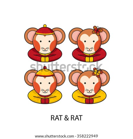 Rat Chinese Happy New Year Vector Illustration - stock vector