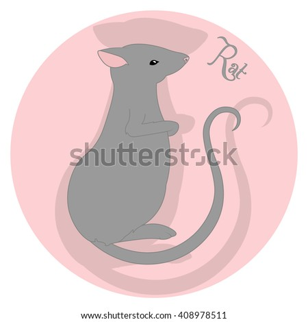 Rat Chinese Happy New Year. Vector Illustration. Animal symbol of the New Year 2020. Lunar new year. Symbol of year on Chinese calendar.   - stock vector