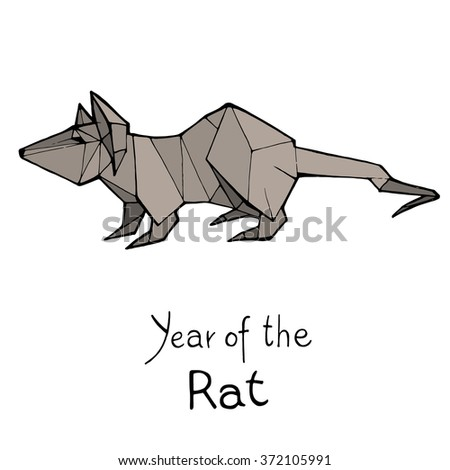 Rat origami, Chinese Zodiac. Hand drawn vector illustration