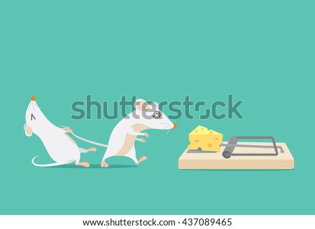 Rat try to stop friend to trapped because cheese. Ideal for illustration about business concept and consulting or other. - stock vector