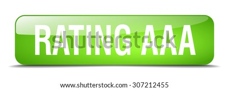rating aaa green square 3d realistic isolated web button - stock vector