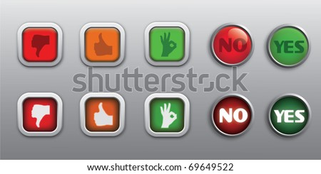 rating ( bad, good, great ) & yes / no (cancel / approve ) push buttons ( icons ) in two positions ( pressed and released ) - stock vector