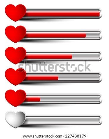 Rating elements with hearts - Liking, satisfaction, grading, dissatisfaction, bad experience, ~customer~ feedback or stamina, health points concepts #2 horizontal bar version - stock vector