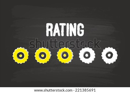 Rating Evaluation System With Three Gears On Blackboard - stock vector