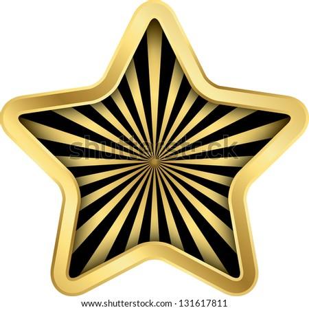 Rating golden star, vector illustration - stock vector