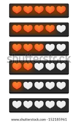 Rating hearts. Vector illustration. - stock vector