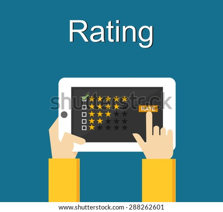 Rating illustration. Flat design. Rating system on phone screen. Giving feedback concept. - stock vector