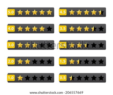 Rating stars buttons - stock vector