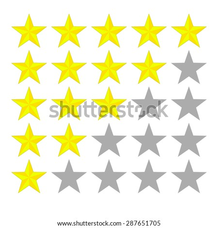 Rating stars. Glossy stars. Best rating.