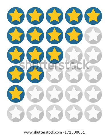 Rating stars on white background - stock vector
