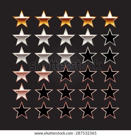 Rating stars. Set of rating stars. Gold star, silver star, bronze star illustration. - stock vector