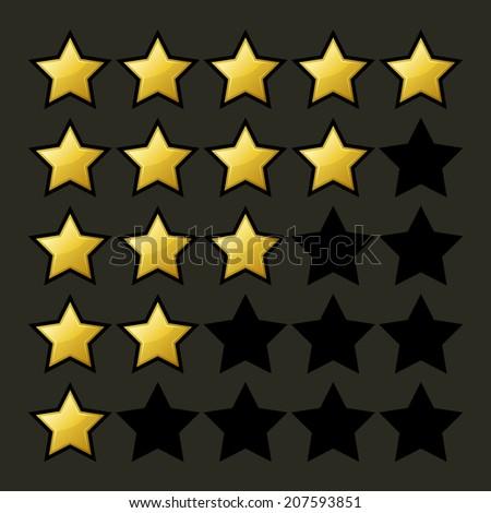 Rating Stars Set on Dark. Vector Illustration - stock vector