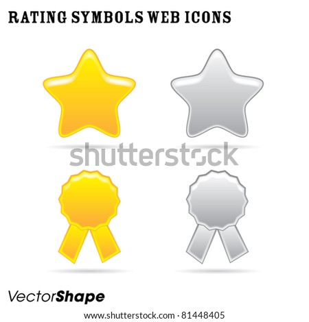 Rating symbols, star and ribbon badge, web application collection, vector illustration - stock vector