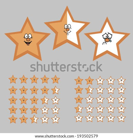 Rating with Cartoon Stars. Happy, Neutral and Sad Star. Rating from 5 to 0. Full and Half Star. Vector Illustration - stock vector