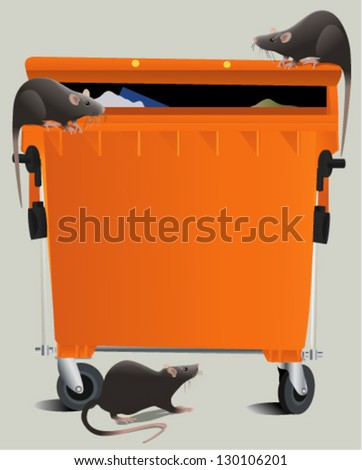 Rats in the rubbish dump - stock vector