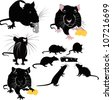 Rats of the mouse rodents animals cheese - stock vector