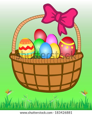 Rattan Easter basket full of colorful eggs on green grass - stock vector