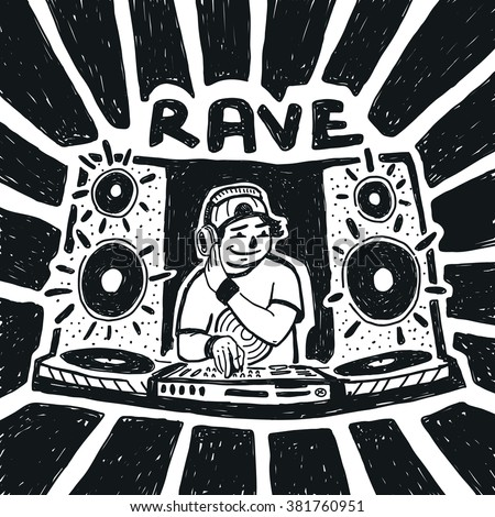 Rave party DJ vector illustration - stock vector