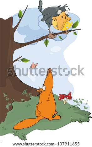 Raven and a fox cartoon - stock vector
