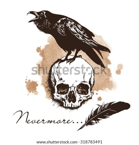 Raven and skull on sepia background halloween vector illustration - stock vector