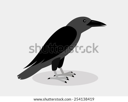Raven In Flat Style - stock vector