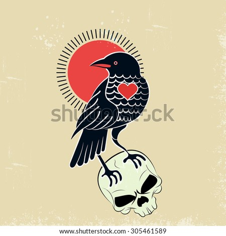 Raven on a skull style tattoo,grunge.chips and scratches are easily removed. - stock vector