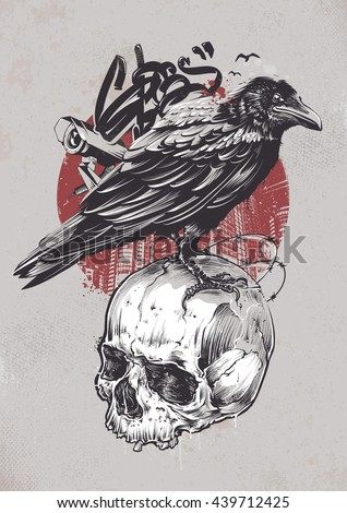 Raven on skull with urban elements on dirty background. Grunge style graffiti art. Street art. Vector illustration.