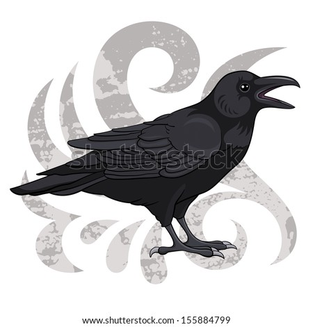 Raven, vector illustration - stock vector