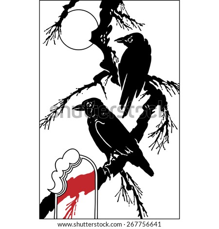 ravens  bird on tree branch - black vector silhouette on white. Vintage hand draw art. Set of illustrations - stock vector