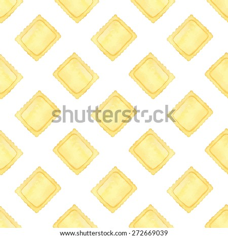 Ravioli. Seamless pattern with Italian pasta. Real watercolor drawing. Vector illustration. Traced painting - stock vector