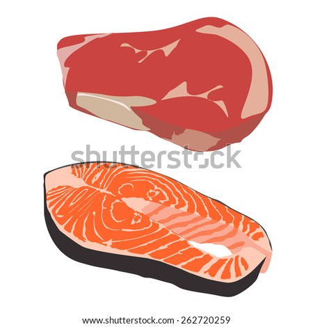 Raw Steak Drawing Raw Beef Steak And Salmon Fish