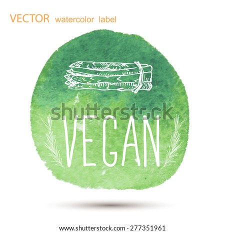 Raw vegan badges. Vector hand drawn labels. calligraphy watercolor. - stock vector