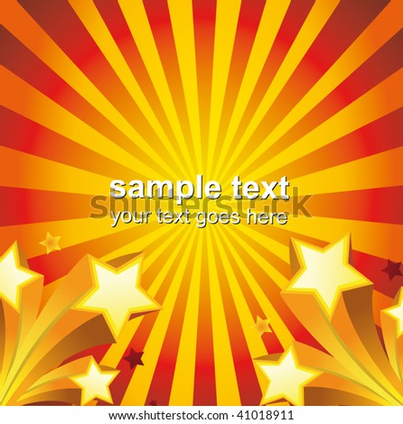 ray background with stars - stock vector