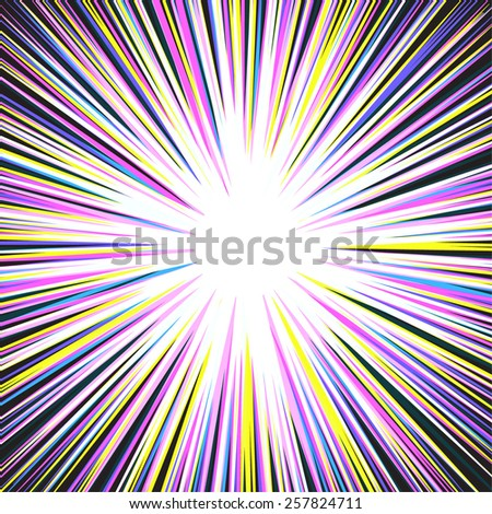 ray burst yellow Big Bang - stock vector