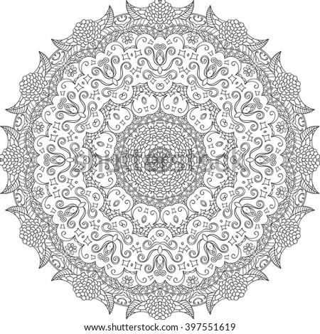 Ray edge mandala tracery wheel mehndi design. Tracery calming ornament. Neat even binary monochrome harmonious doodle texture. Indifferent discreet.  Bracing usable doodling mehndi pattern. Vector. - stock vector