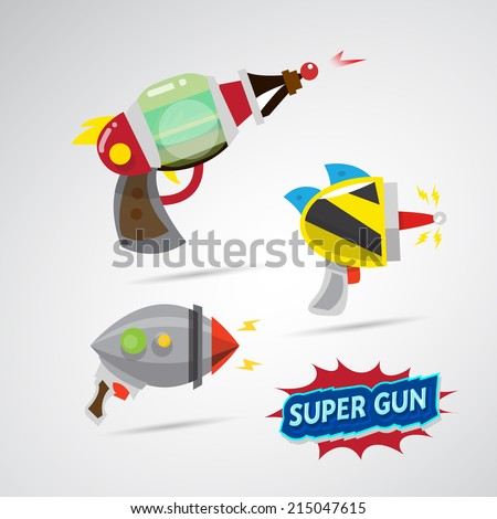 ray gun cartoon. supergun. - stock vector