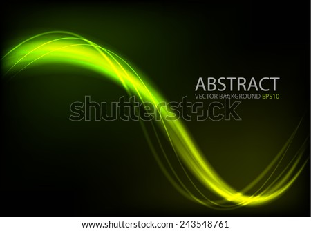 Ray light background green and yellow curve line technology digital lighting art background for text and message design , vector - stock vector