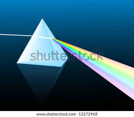 ray of light refracting; vector illustration
